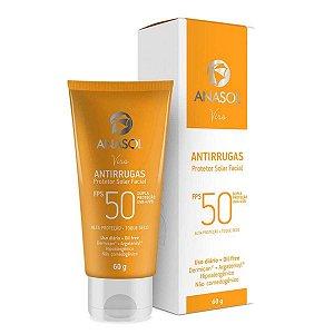 Viso Antirrugas FPS50 Protetor Solar Facial Alta Proteção Toque Seco 60g - Anasol