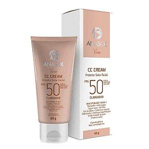 CC Cream Protetor Solar Facial Clareador 10 em 1 Oil Free FPS 50 60 g - Anasol