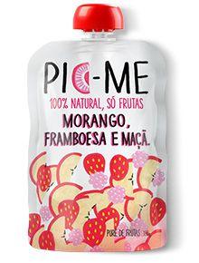 Purê de Frutas Morango Framboesa e Maçã Pic-Me 100g