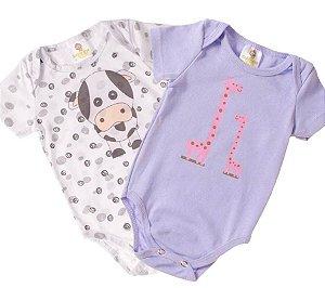 Body Bebê Manga Curta Kit com 2 peças