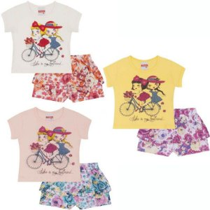 Conjunto Bebê Blusa + Shorts Saia