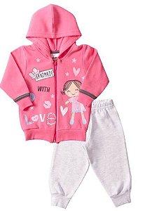 Conjunto Moletom Bebê Love Rosa