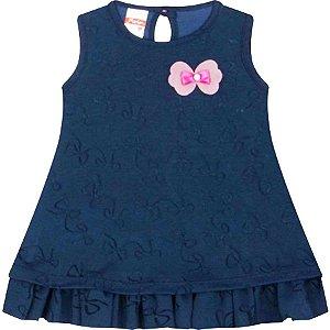 Vestido Bebê Laços Azul Marinho