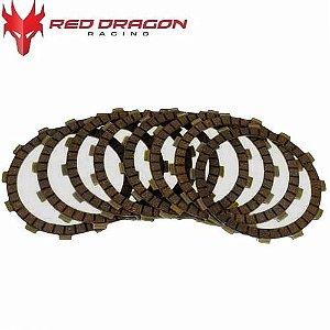 KIT DISCOS DE EMBREAGEM KTM SXF250 05-12 EXCF250 06-13 XC FW250 06-12 (8 DISCOS) RED DRAGON