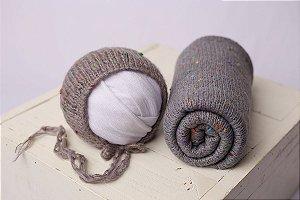 Conjunto Wrap + Touquinha Confete - Cinza