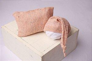 Conjunto Touquinha + Travesseiro Mesclado - Rosa