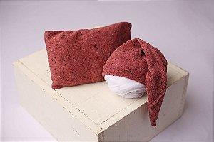 Conjunto Touquinha + Travesseiro Flocado - Melancia