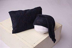 Conjunto Touquinha + Travesseiro Flocado - Azul Marinho