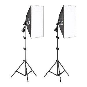 Equipamento T-Photo Kit Duplo Luz Contínua Softbox + Lâmpada + Tripé 2m