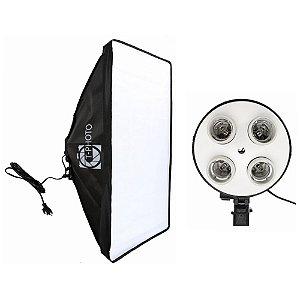 Equipamento T-Photo Kit Softbox Soquete E-27 Quadruplo Embutido Tripé 2M