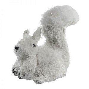 Esquilo Sentado Branco 14cm
