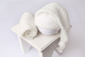 Conjunto Touquinha + Wrap Texturizado - Branco