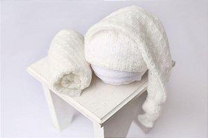 Conjunto Touquinha + Wrap Texturizado - Off White