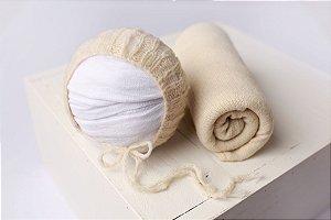 Conjunto Wrap Knit Soft + Touquinha - Creme