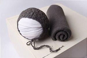 Conjunto Wrap Knit Soft + Touquinha - Grafite