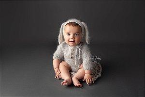 Body em Lã estilo Angorá para Acompanhamento de 03 a 10 meses - Cinza Claro