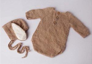 Body em Lã estilo Angorá para Acompanhamento de 03 a 10 meses - Mocha