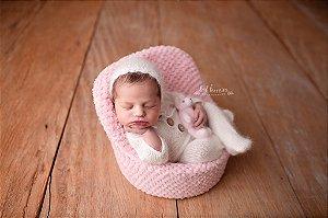 Macacão em Lã estilo Angorá para Newborn - Off White