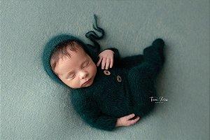 Macacão em Lã estilo Angorá para Newborn - Verde Esmeralda
