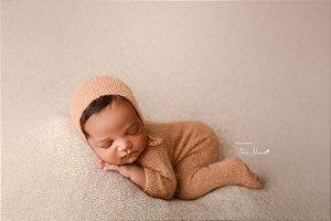 Macacão em Lã estilo Angorá para Newborn - Caramelo