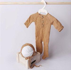Macacão em Lã estilo Angorá para Newborn - Mocha