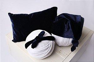 Conjunto Veludo Travesseiro + Headband + Touquinha - Azul Marinho