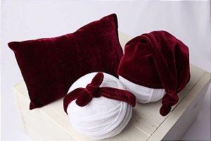 Conjunto Veludo Travesseiro + Headband + Touquinha - Magenta