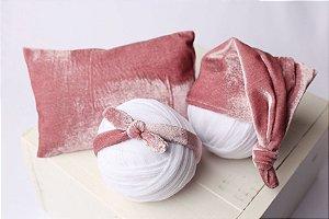 Conjunto Veludo Travesseiro + Headband + Touquinha - Rosa Envelhecido