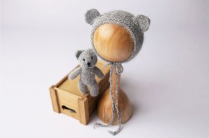 Conjunto Urso + Touquinha - Cinza