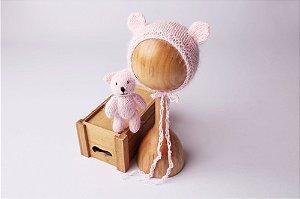 Conjunto Urso + Touquinha - Rosa Bebê