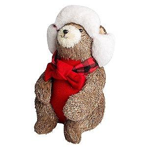 Urso Sentado Rústico 25cm
