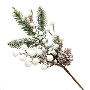 Galho Berry Branca com Pinha 28cm