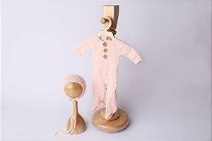 Macacão em Lã estilo Angorá para Newborn - Rosa Bebê
