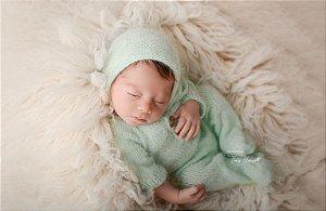 Macacão em Lã estilo Angorá para Newborn - Acqua