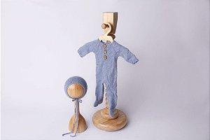 Macacão em Lã estilo Angorá para Newborn - Azul