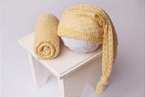 Conjunto Touquinha + Wrap Texturizado - Amarelo Bebê