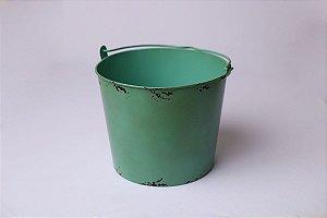 Baldinho de Metal Rústico - Verde