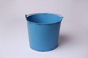 Baldinho de Metal Rústico - Azul