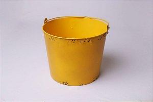 Baldinho de Metal Rústico - Amarelo