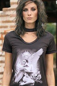 Long Shirt Angel Skull - Black