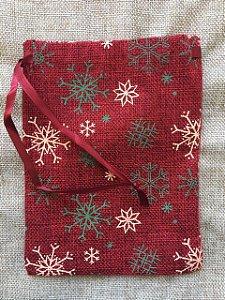 Mini Saco Rústico para Presente - Vermelho