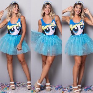 Body Fantasia Meninas Super Poderosas - Azul