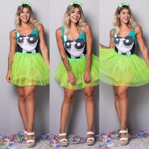 Body Fantasia Meninas Super Poderosas - Verde