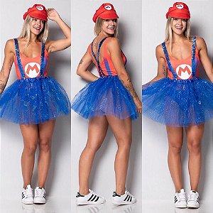 Fantasia Mario (Body + Chapéu + Saia)