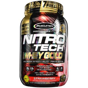 NITRO TECH 100% WHEY GOLD 2.5LBS MORANGO