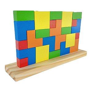 Brinquedo Educativo De Madeira Blocos De Encaixe Tetris 24 Peças