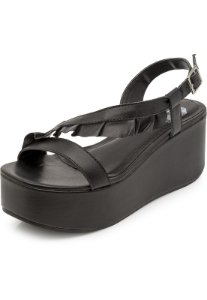 Sandália Flatform The Box Project Ruffles Preto