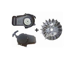 Partida Puxador Manual + Magneto para Mini Motos/Quadriciclos 49cc  (FÁCIL 02 MOLAS)