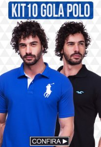 Kit com 10 Camisas Polo Masculinas no Atacado
