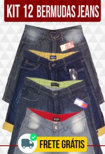 Kit com 12 Bermudas Jeans